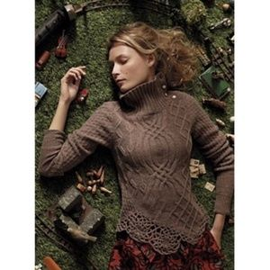 Moth cabled pathways wool sweater